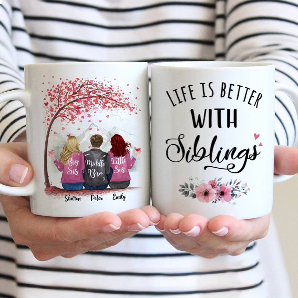 Personalized Sister Mug - Life is Better with Siblings (6071)
