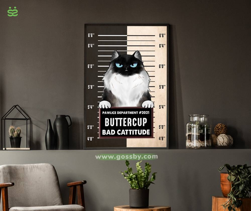 Personalized Poster - Pawlice Cat - Bad Cattitude (Poster)_2