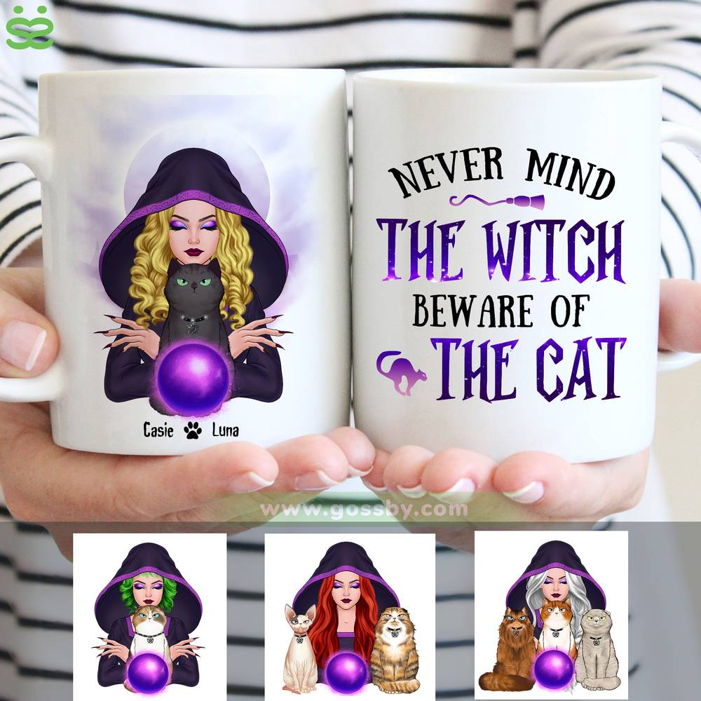 Personalized Mug - Halloween - Cat Witch - Never mind  the witch  beware of  the cat