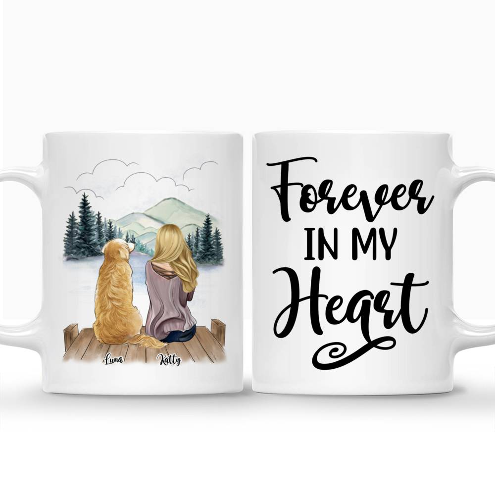 Customized Coffee Dogs Mom Mug - Girl and Dogs - Forever In My Heart_3