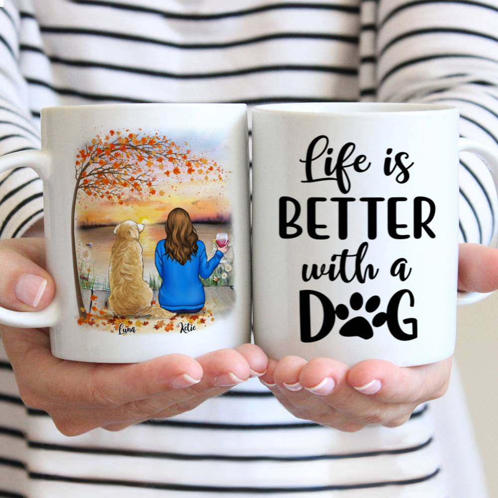 Personalized Mug - Girl and Dogs - Life Is Better With A Dog (5213)_1