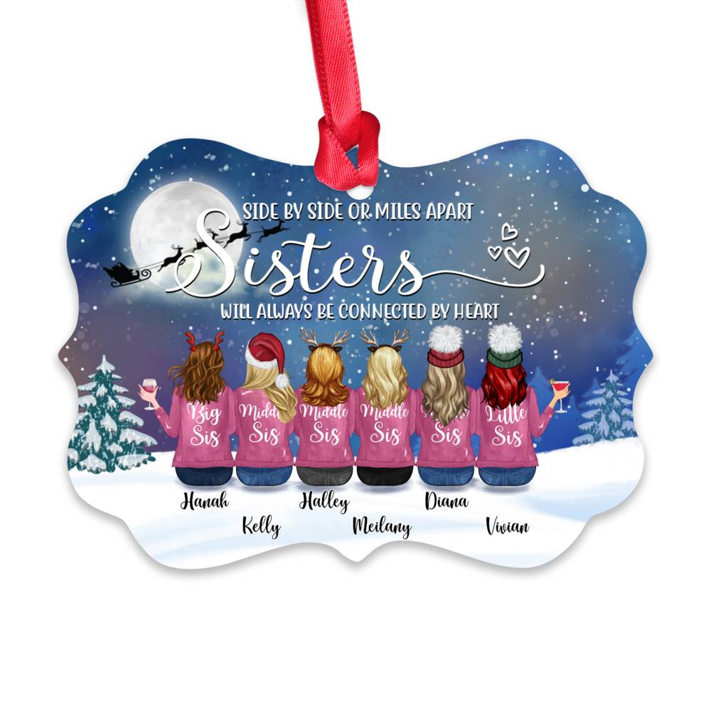 Personalized Ornament - Up to 9 Women - Ornament - Side by side or miles apart, friends will always conected by heart (Snow)_1