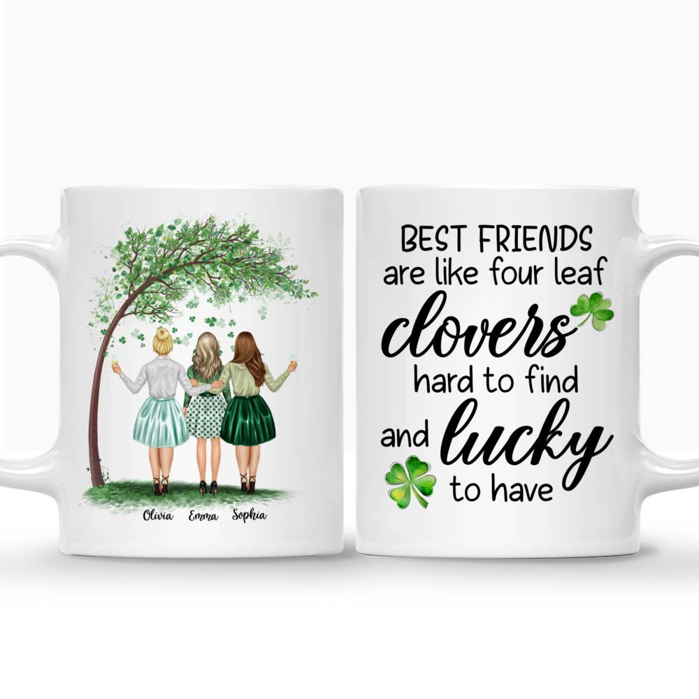 Personalized Mug - Best friends - Best friends are like four leaf clovers, hard to find and lucky - Up to 4 Friends_3