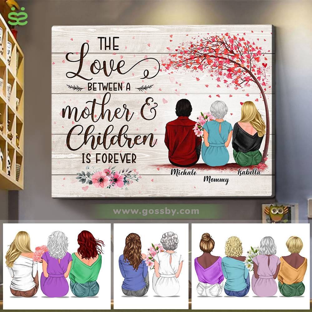 Personalized Wrapped Canvas - Mother & Daughters/Sons - The Love Between a Mother And Children is Forever 3D - Wooden Canvas/Ver 2