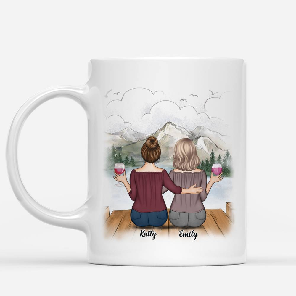 Personalized Mug - Up to 5 Women - Side by side or miles apart Old Friends will always be connected by the heart_1