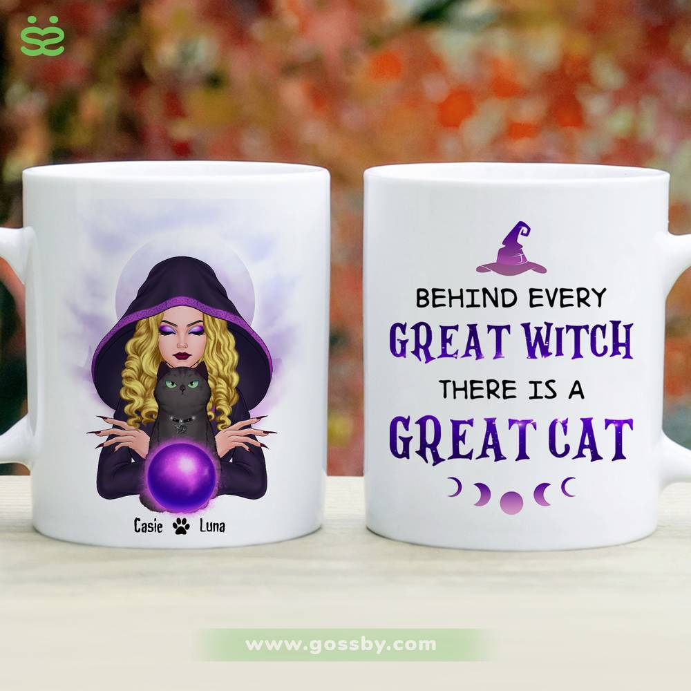 Personalized Mug - Halloween - Cat Witch - Behind every great witch there is a great cat_2