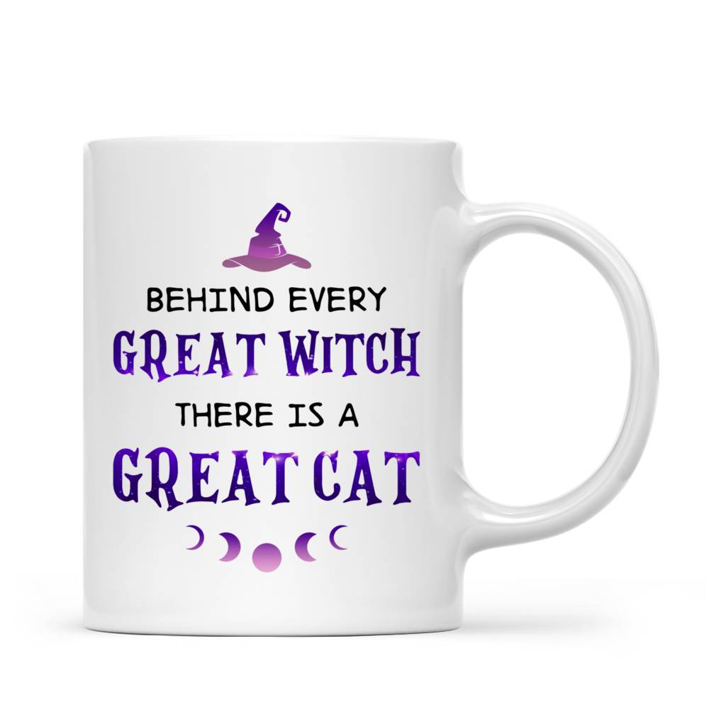 Personalized Mug - Halloween - Cat Witch - Behind every great witch there is a great cat_5