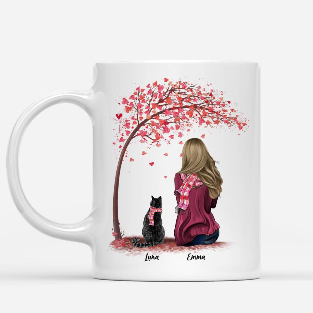 Personalized Mug - Girl and Cats Spring - Life Is Better With A Cat_1