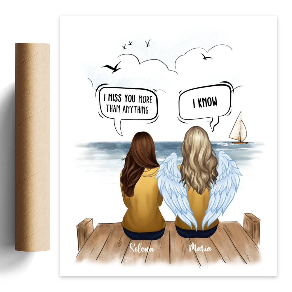 Personalized Poster - Memorial Poster - Best Friend, I Miss You More Than Anything - I Know ( Sea )