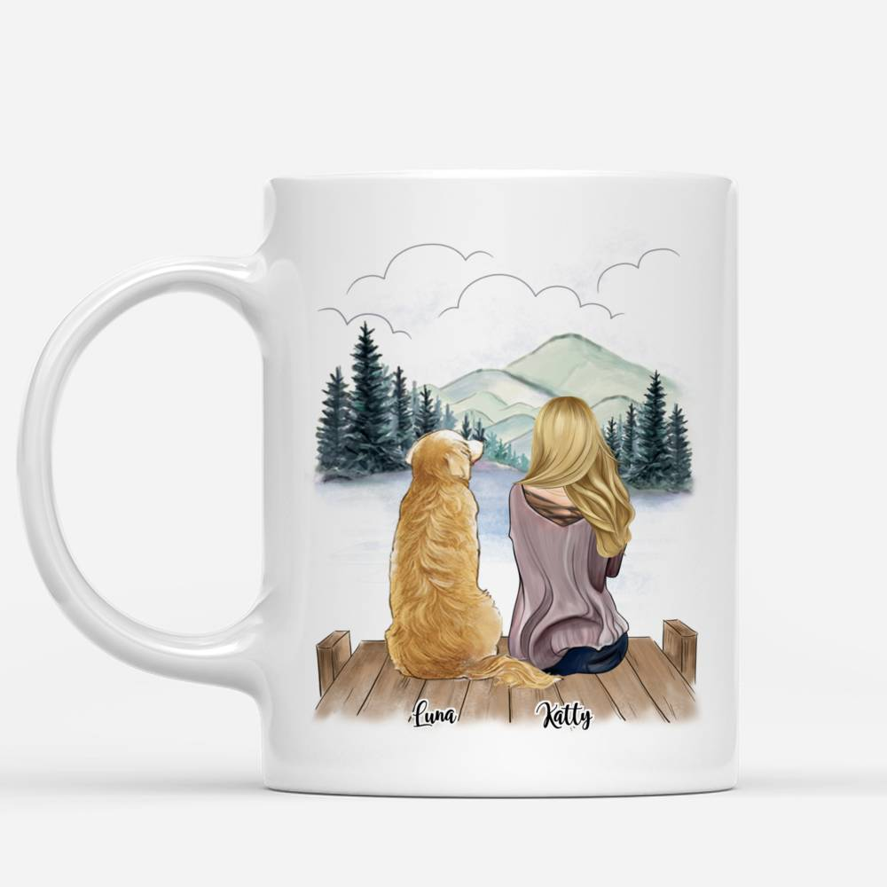 Customized Coffee Dogs Mom Mug - Girl and Dogs - Forever In My Heart_1