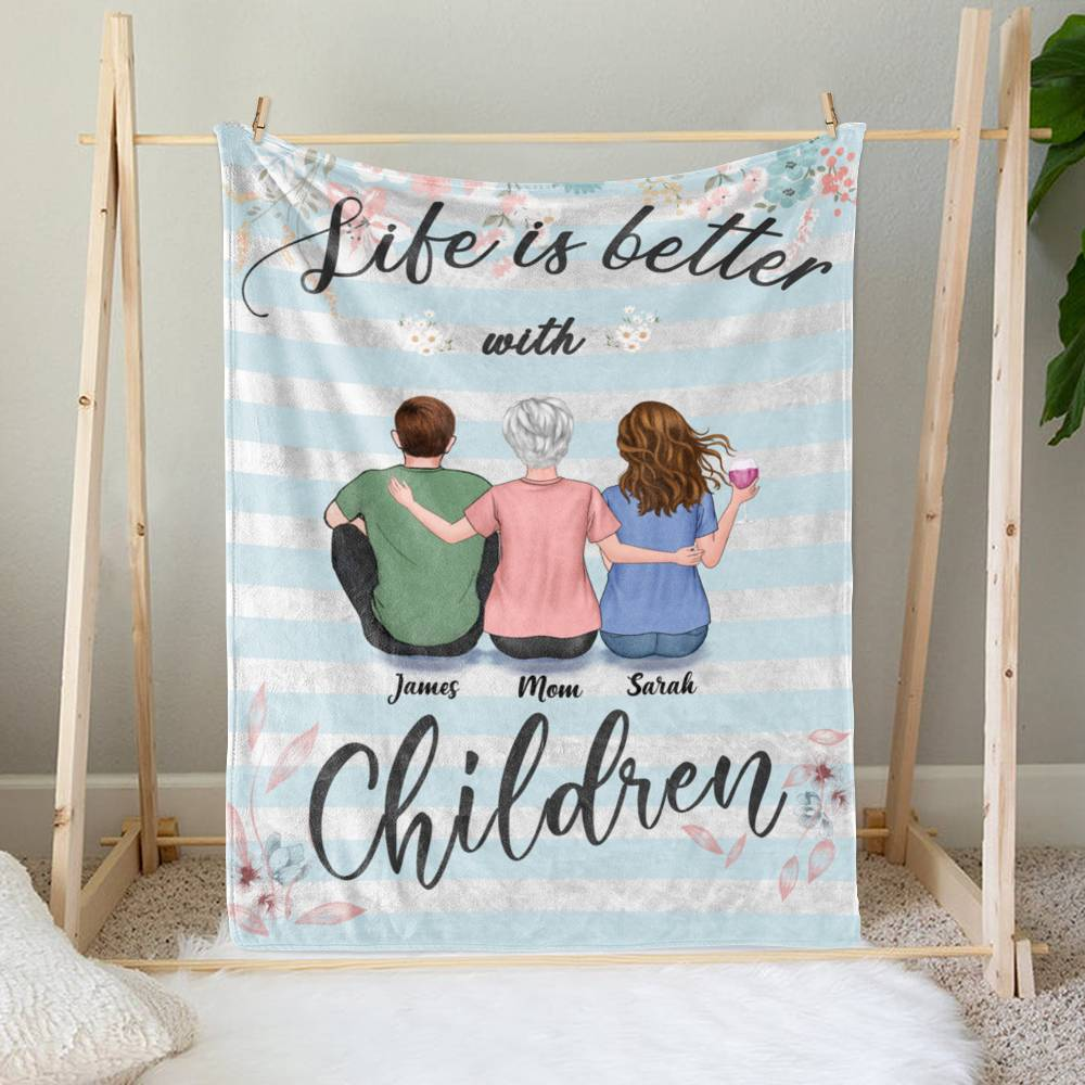 Personalized Blanket - Mother's Day Blanket - BG 3 - Life is Better with Children_1