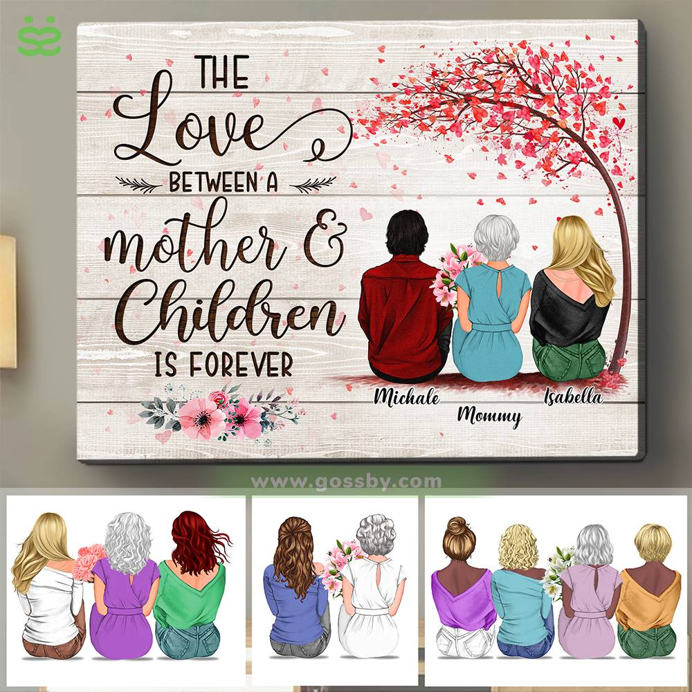 Personalized Wrapped Canvas - Mother & Daughters/Sons - The Love Between a Mother And Children is Forever 3D - Wooden Canvas/Ver 2_1