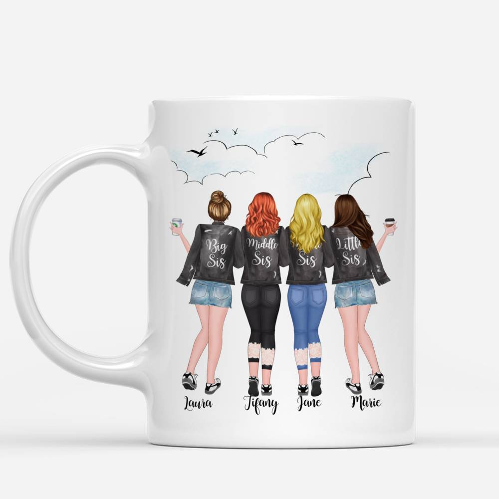 Four Sisters Personalized Mugs Full Body - Hearts Made Us Friends_1