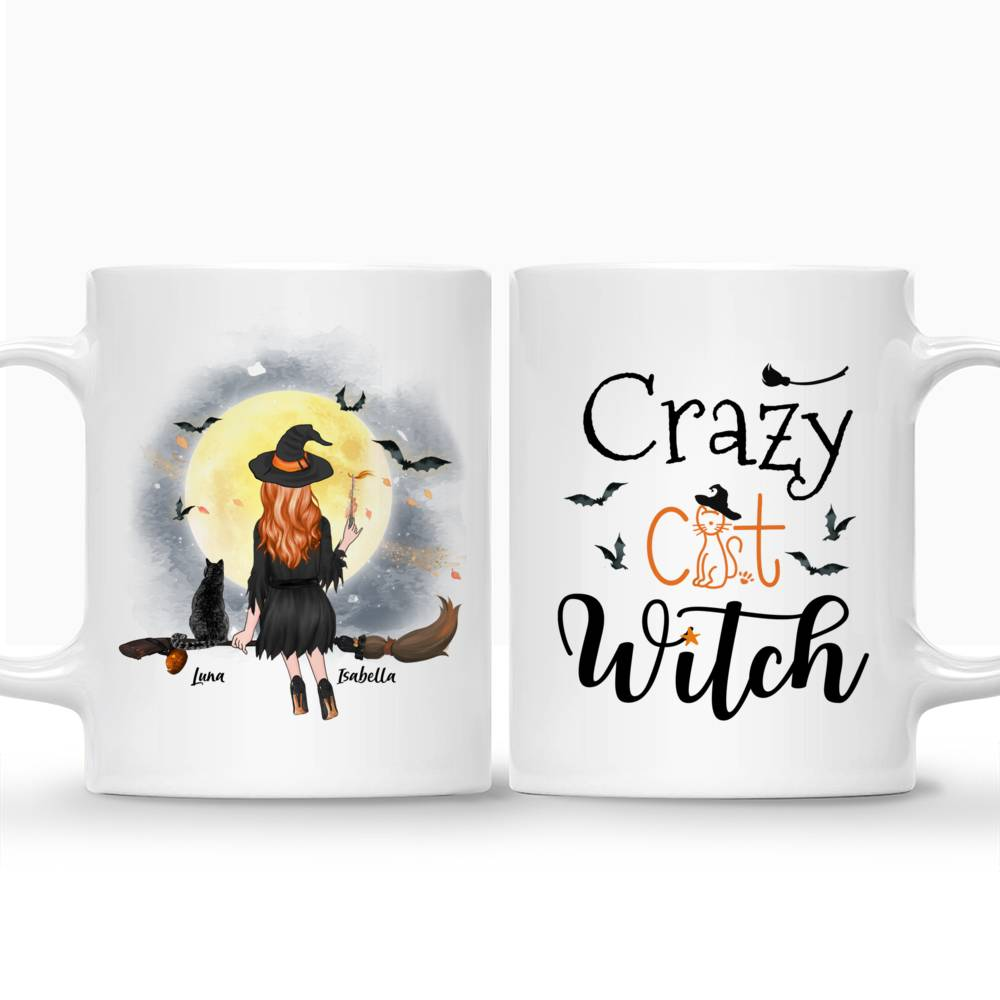 Personalized Witch and Cats - Crazy Cat Witch Custom Mug | Gossby_3