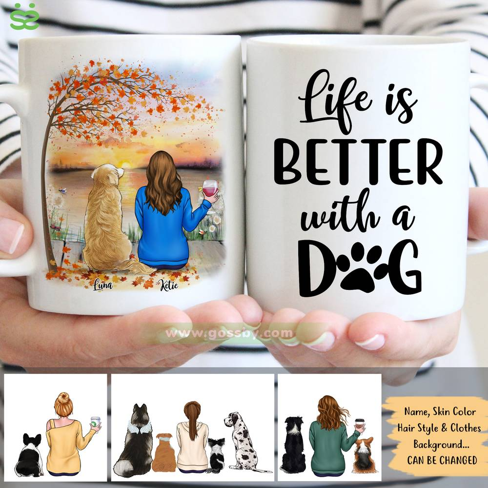 Personalized Mug - Girl and Dogs - Life Is Better With A Dog (5213)