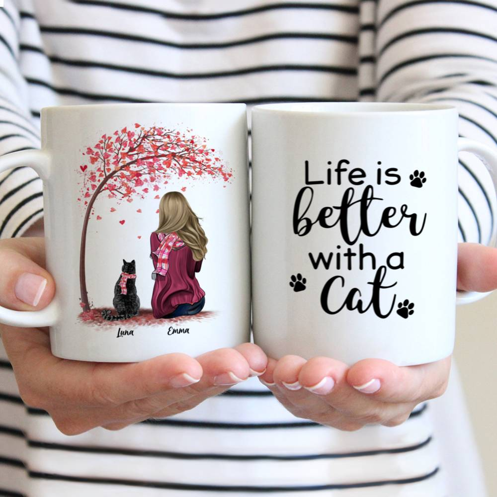 Personalized Mug - Girl and Cats Spring - Life Is Better With A Cat