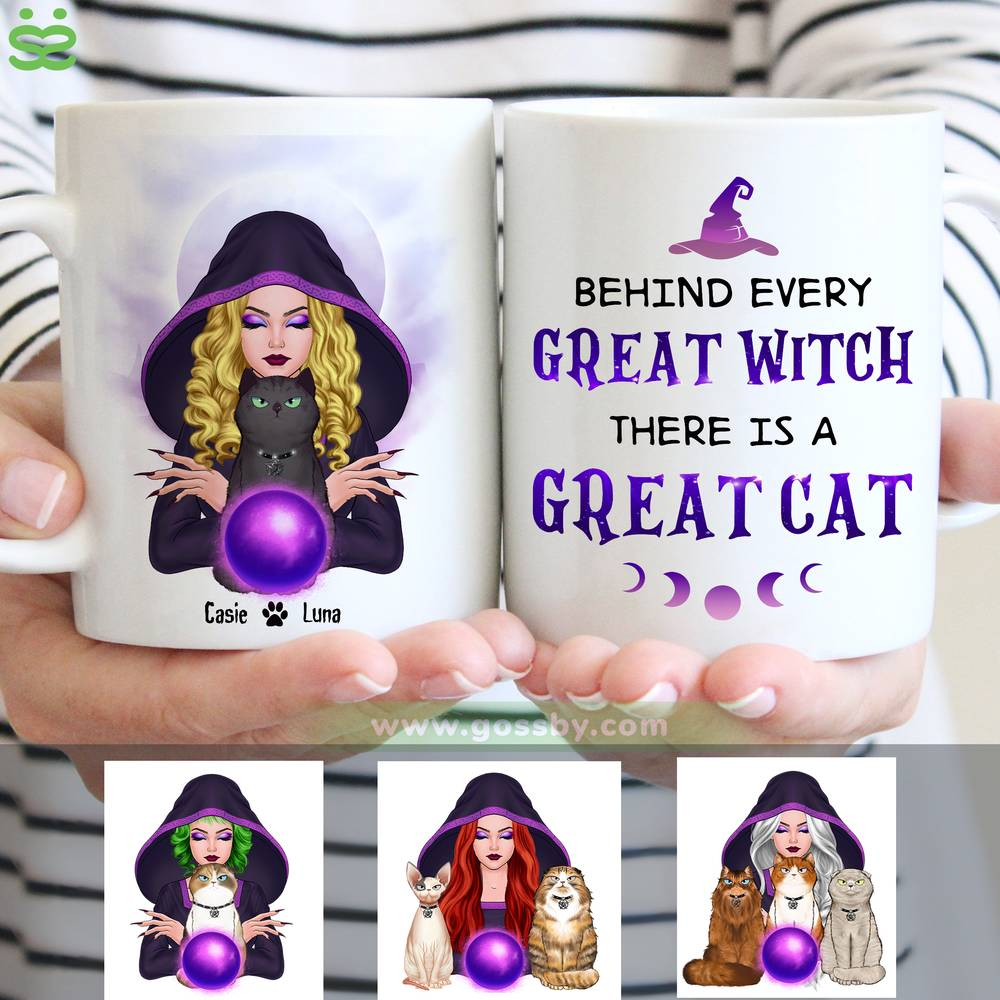 Personalized Mug - Halloween - Cat Witch - Behind every great witch there is a great cat