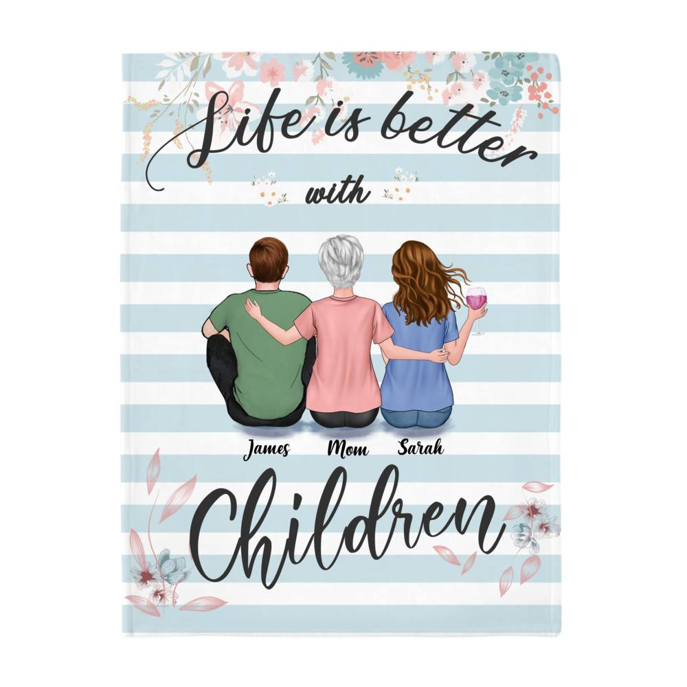 Personalized Blanket - Mother's Day Blanket - BG 3 - Life is Better with Children_2