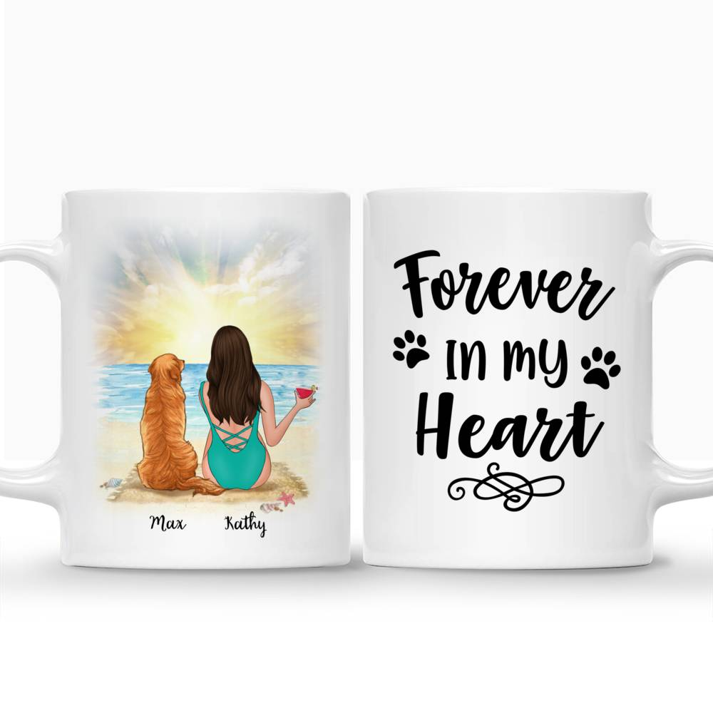 Personalized Mug - Beach Girl And Her Dog - Forever In My Heart_3