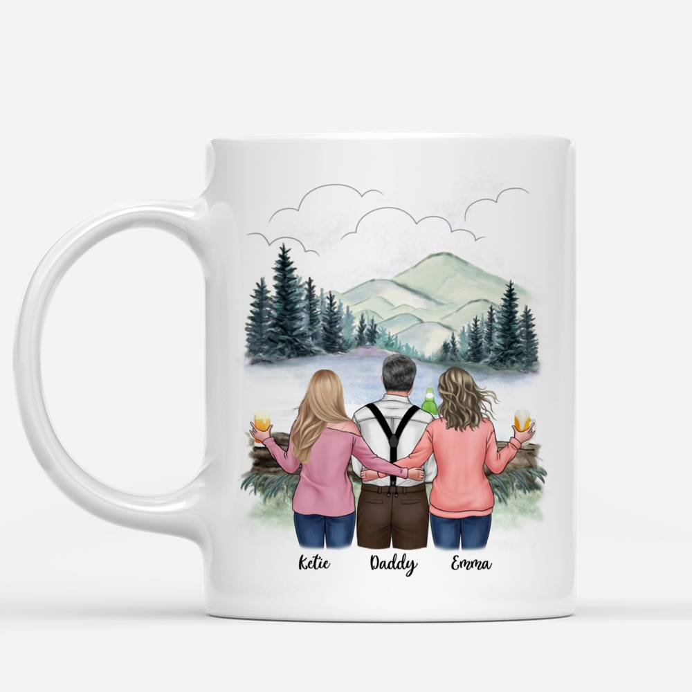 Personalized Mug - Family - Father and Daughters Forever Linked Together_1