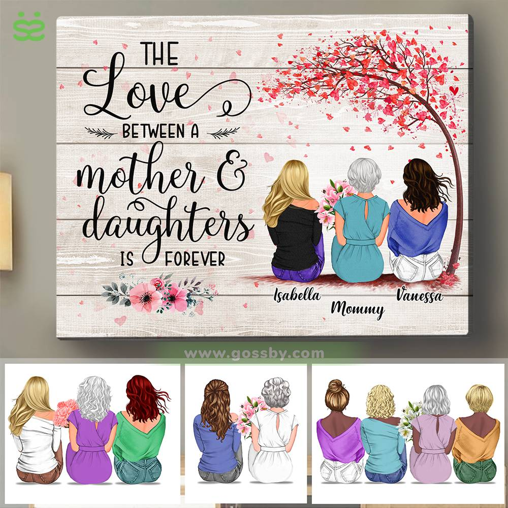 Personalized Wrapped Canvas - Mother & Daughters/Sons - The Love Between a Mother And Daughters is Forever 2D - Wooden Canvas/Ver 1_1