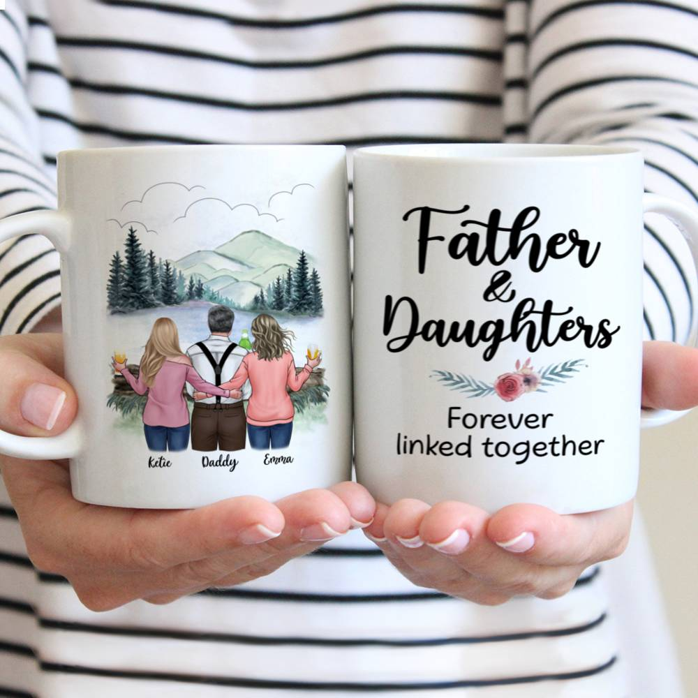 Personalized Mug - Family - Father and Daughters Forever Linked Together