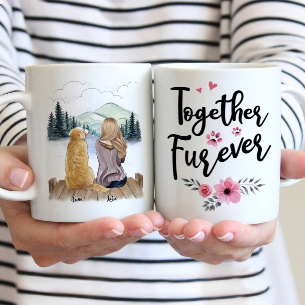 Personalized Mug - Girl and Dogs - Together Furever (575)