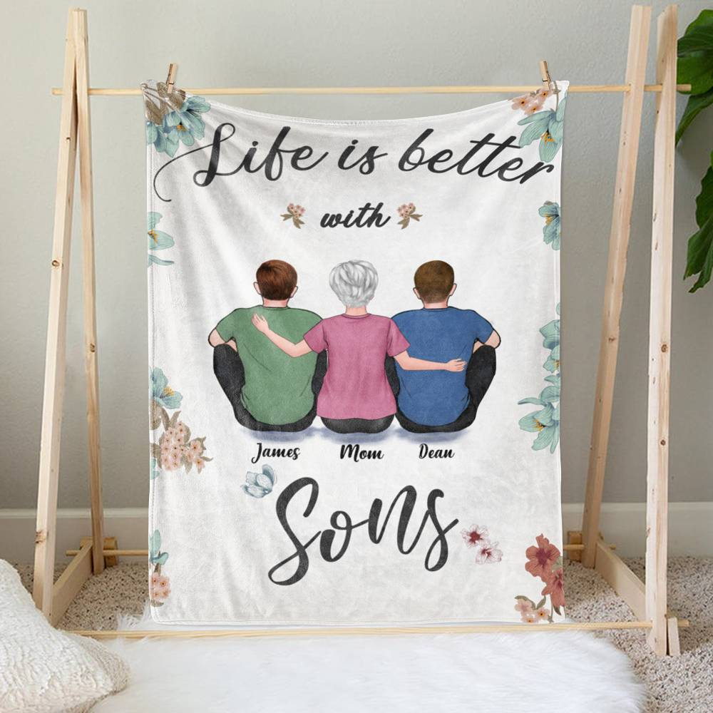 Personalized Fleece Blanket - Life is Better with Sons_1