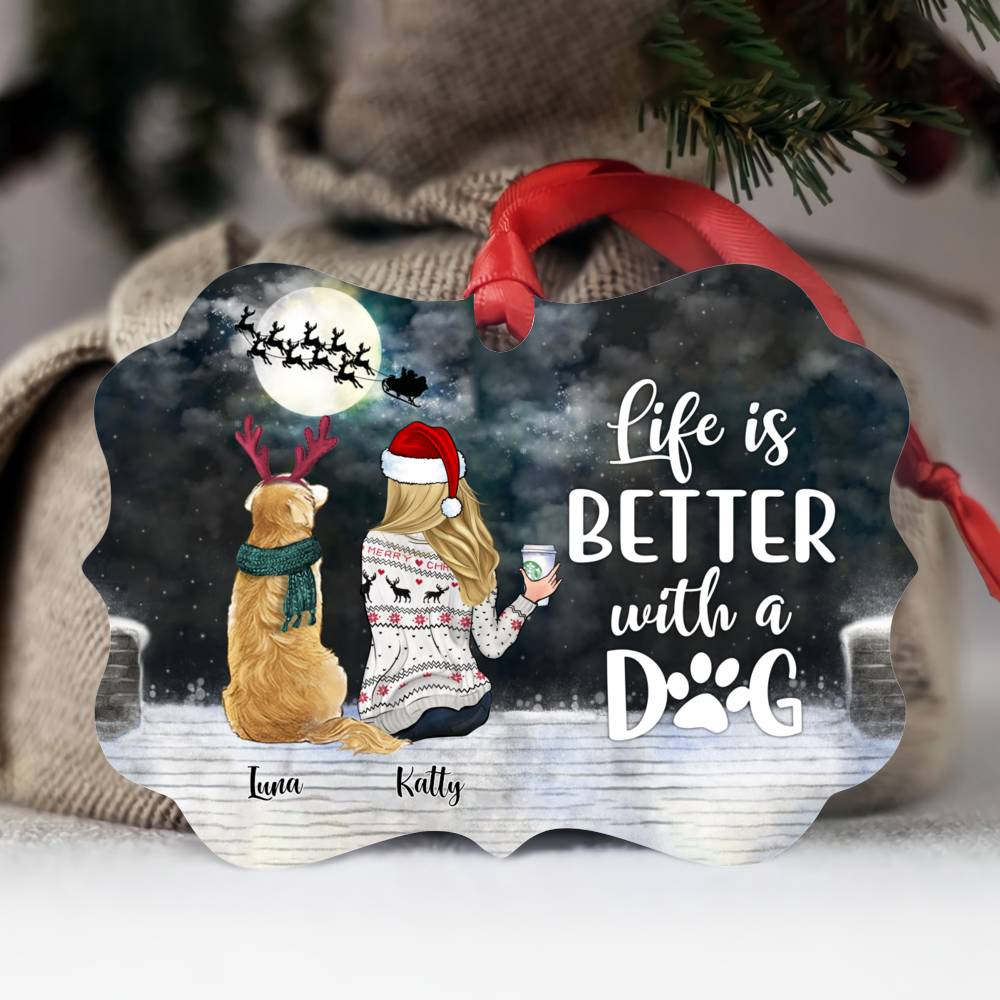 Personalized Ornament - Girl and Dogs - Life is better with a dog (5946)