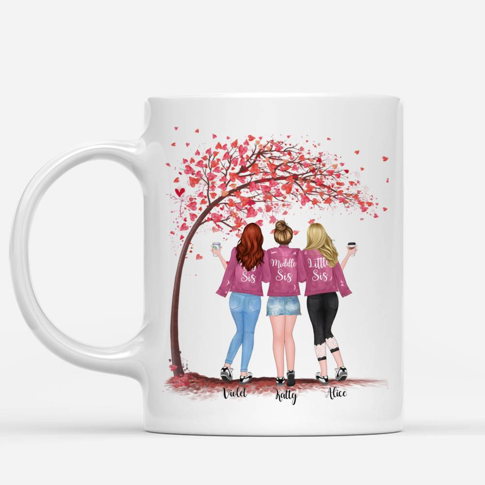 Personalized Mug - Up to 5 Sisters - Life is better with Sisters (Ver 1) - Love - Pink_1