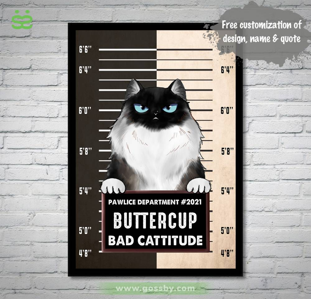 Personalized Poster - Pawlice Cat - Bad Cattitude (Poster)_1