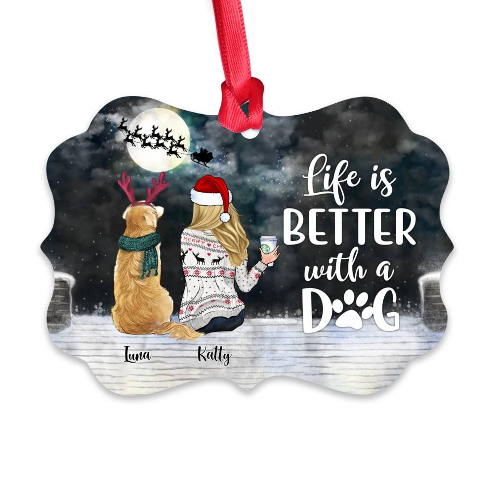 Personalized Ornament - Girl and Dogs - Life is better with a dog (5946)_1