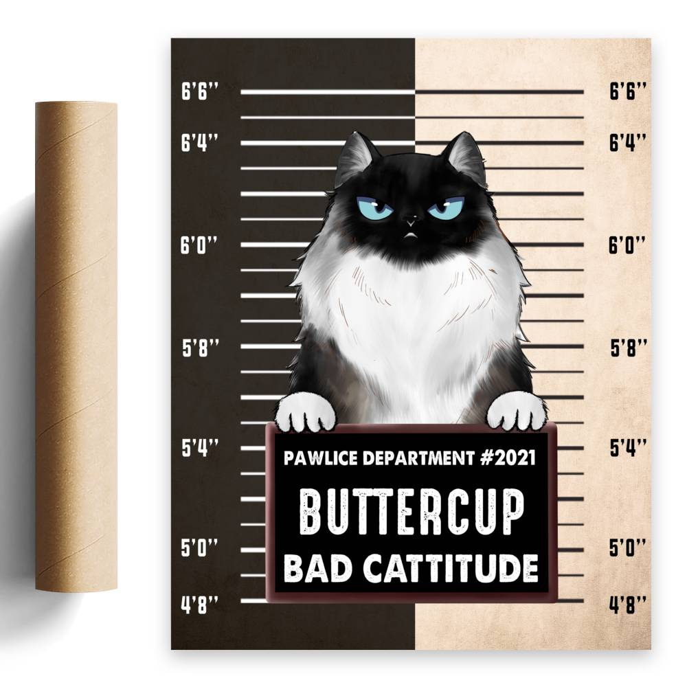 Personalized Poster - Pawlice Cat - Bad Cattitude (Poster)_4