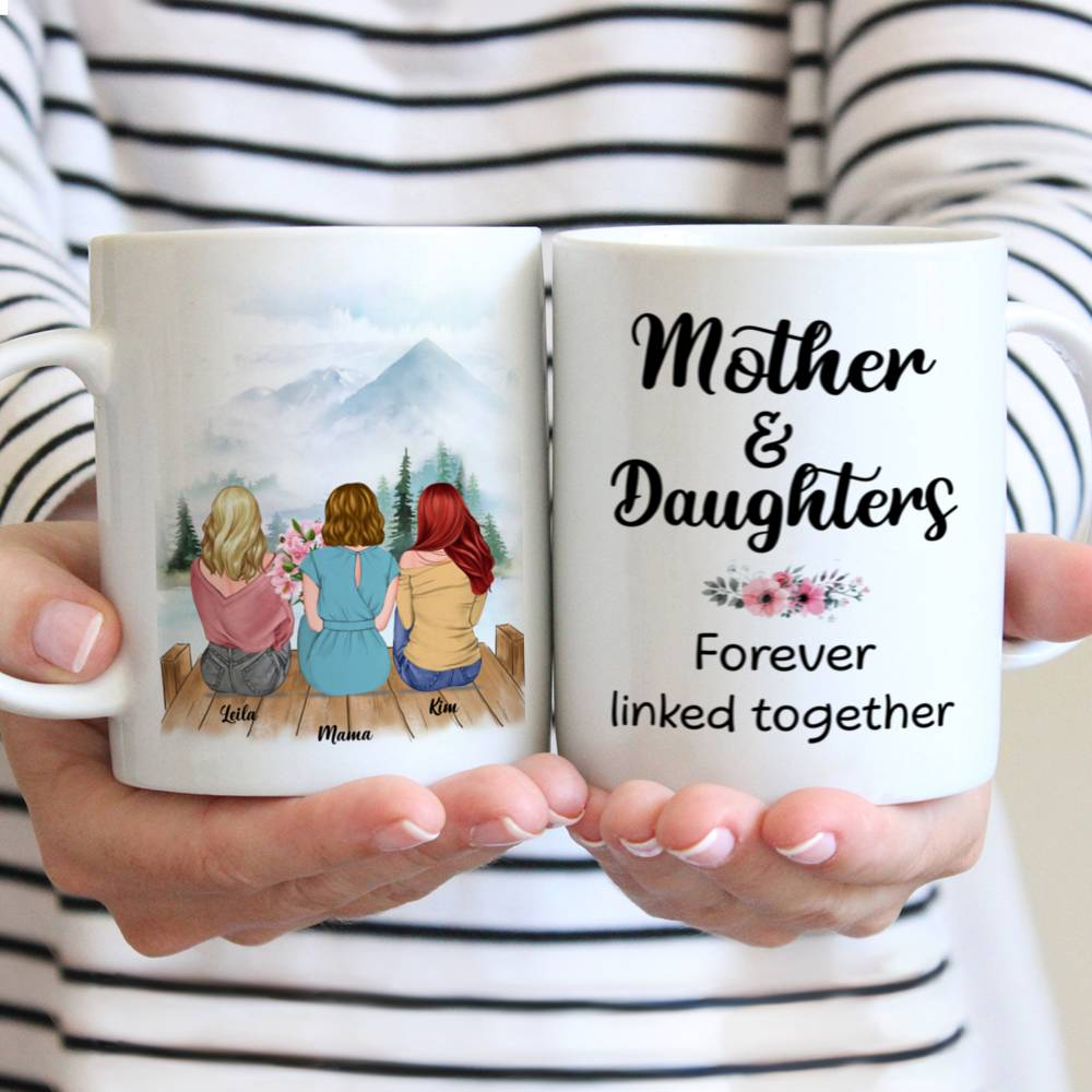 Personalized Mug - Mother & Daughter - Mother & Daughters Forever Linked Together - Romance