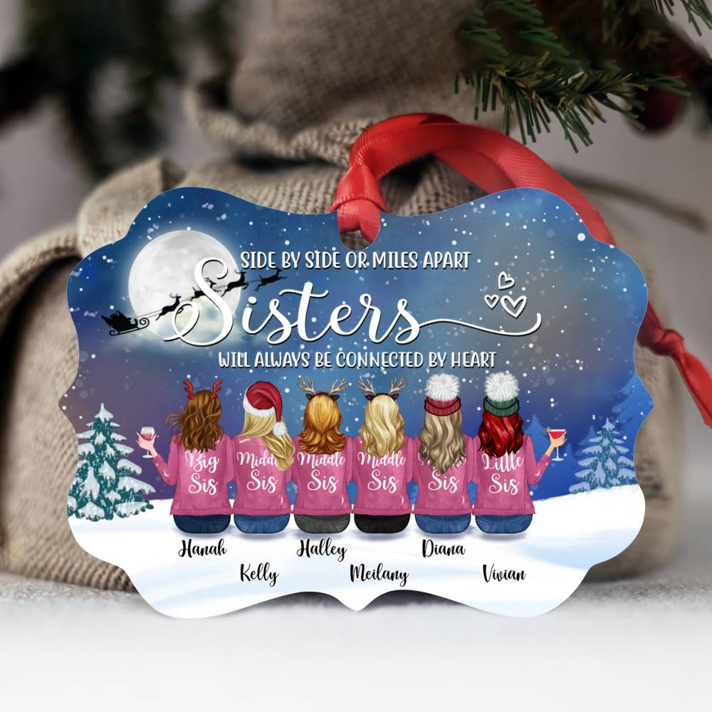 Personalized Ornament - Up to 9 Women - Ornament - Side by side or miles apart, friends will always conected by heart (Snow)