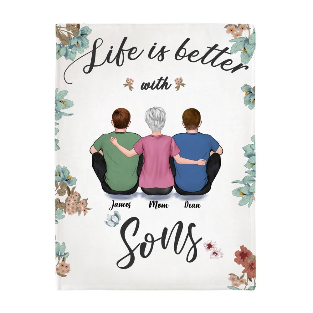 Personalized Fleece Blanket - Life is Better with Sons_2