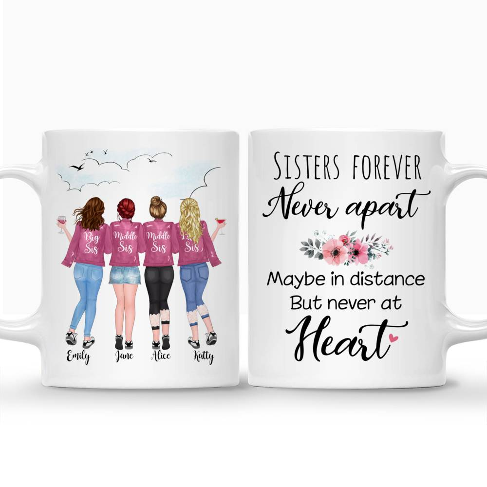 Custom Coffee Mugs for up to 5 Sisters - Sisters Forever, Never Apart_3