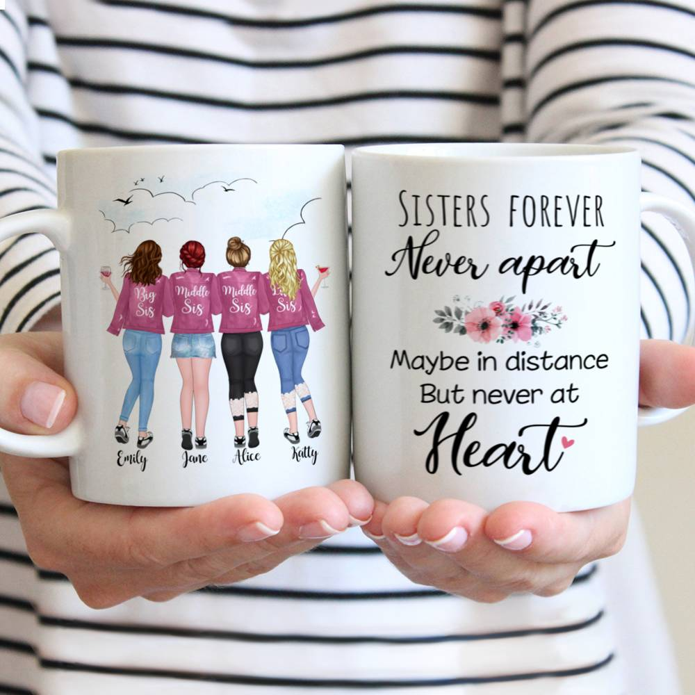 Custom Coffee Mugs for up to 5 Sisters - Sisters Forever, Never Apart