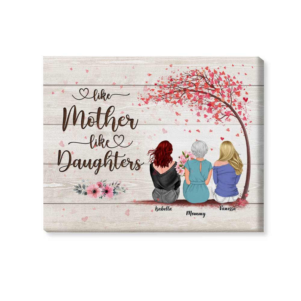 Personalized Wrapped Canvas - Mother & Daughters/Sons - The Love Between a Mother And Children is Forever 3D - Wooden Canvas/Ver 2_2