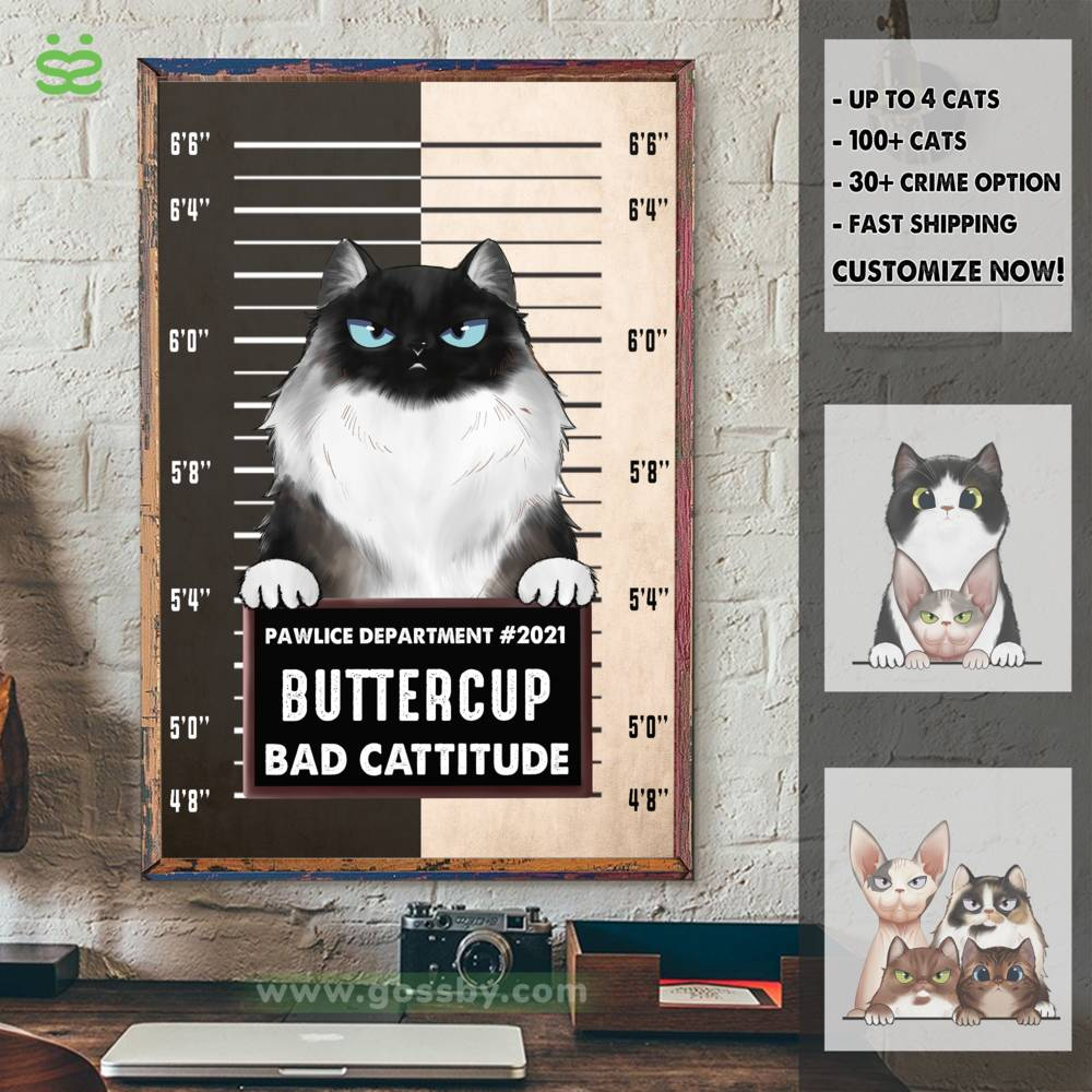 Personalized Poster - Pawlice Cat - Bad Cattitude (Poster)_3