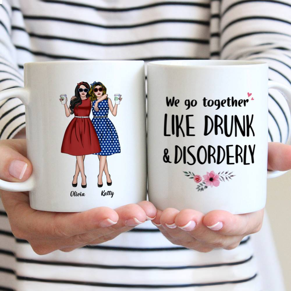 Personalized Mug - Vintage Best Friends - We Go Together Like Drunk And Disorderly
