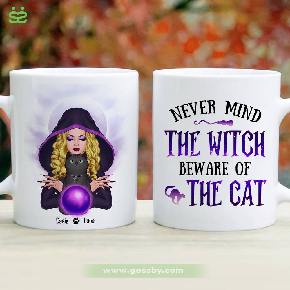 Personalized Mug - Halloween - Cat Witch - Never mind  the witch  beware of  the cat_2