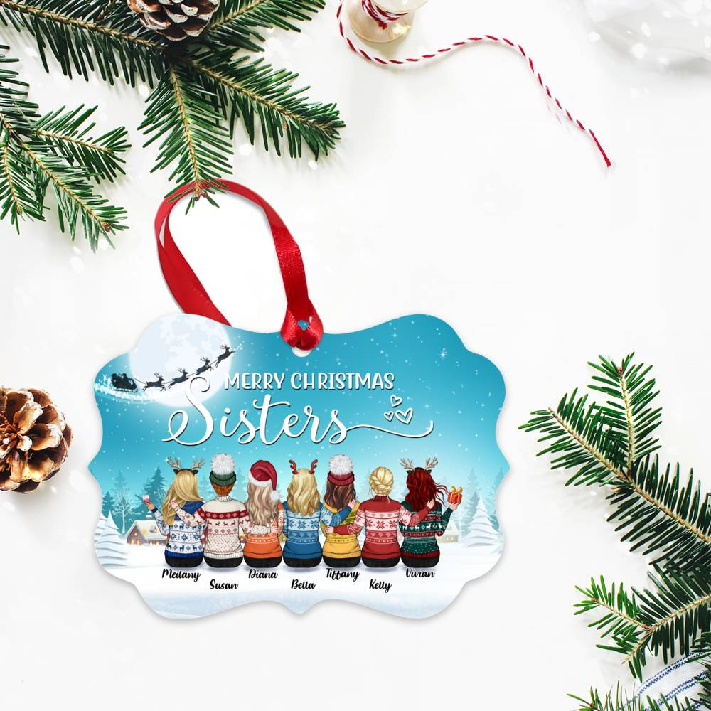 Personalized Ornament - Up to 9 Women - Ornament - Merry Christmas Sisters (Snow_M)_2