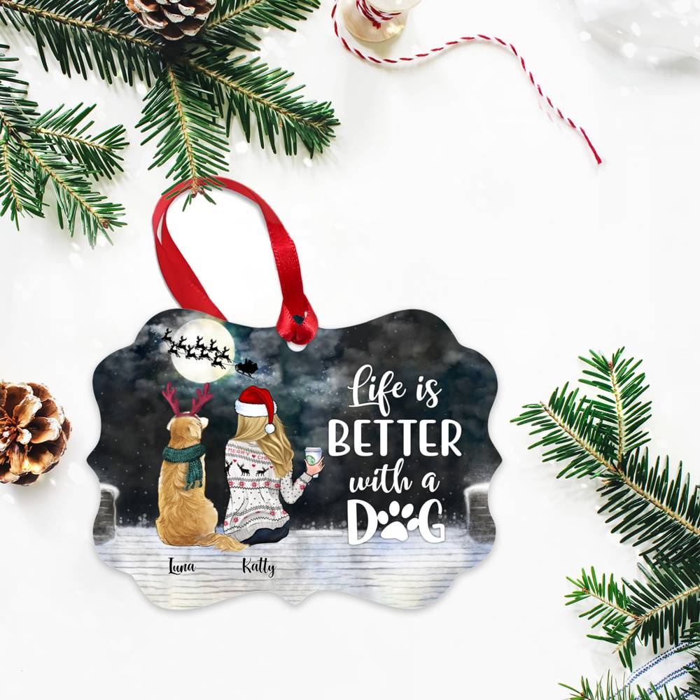 Personalized Ornament - Girl and Dogs - Life is better with a dog (5946)_2