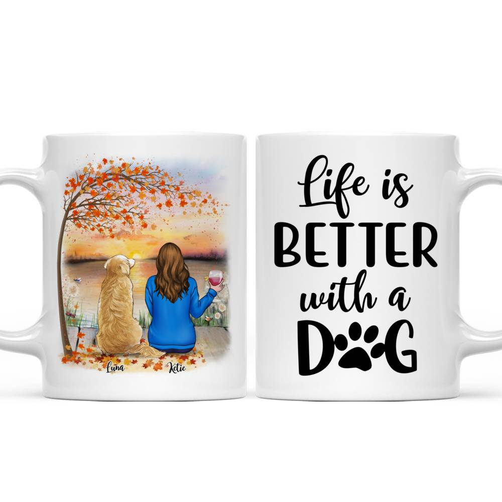 Personalized Mug - Girl and Dogs - Life Is Better With A Dog (5213)_4